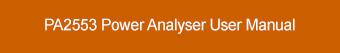 PA2553 Power Analyser User Manual Download