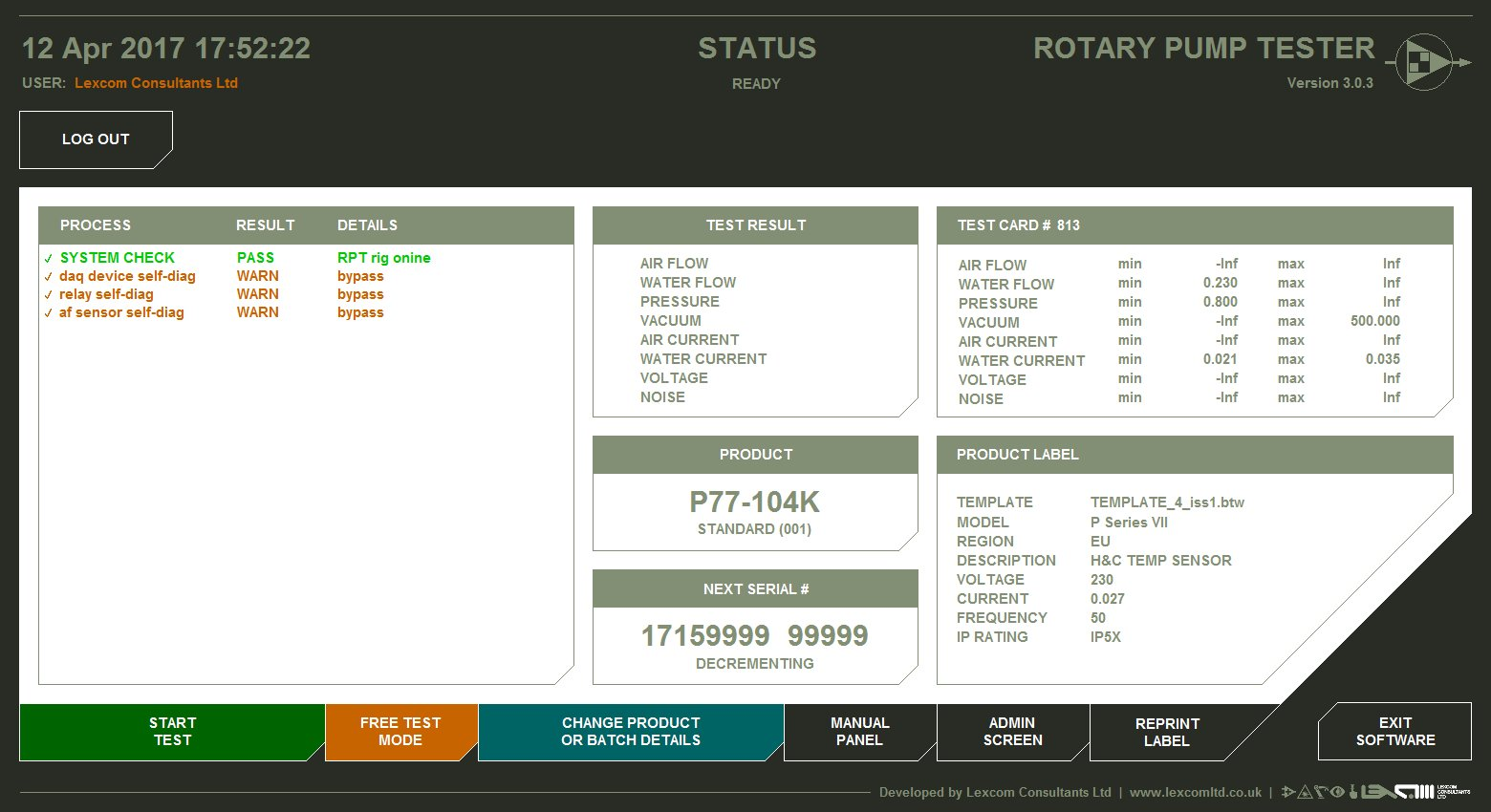 LabVIEW FP Rotary Pump Tester main GUI